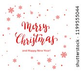 red lettering merry christmas... | Shutterstock . vector #1199555044