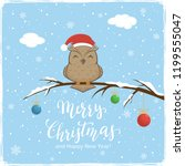 owl with santa's hat on branch... | Shutterstock . vector #1199555047