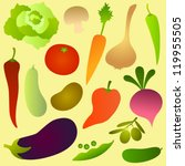 vegetables on light yellow | Shutterstock .eps vector #119955505