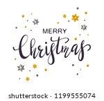 black lettering merry christmas ... | Shutterstock . vector #1199555074