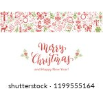 merry christmas with decorative ... | Shutterstock . vector #1199555164