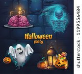 vector illustration halloween... | Shutterstock .eps vector #1199556484