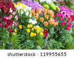 Stock photo roses liliums and daisies 119955655