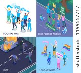protesting people isometric... | Shutterstock .eps vector #1199557717