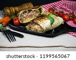 beef tacos served with lettuce...   Shutterstock . vector #1199565067