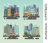 set of isolated cityscapes with ... | Shutterstock .eps vector #1199578651
