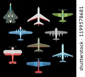 set of isolated war plane icons.... | Shutterstock .eps vector #1199578681