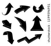 black flat arrows. set. vector... | Shutterstock .eps vector #1199596951