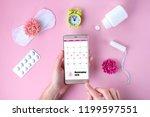 tampon  feminine  sanitary pads ... | Shutterstock . vector #1199597551