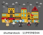 kids monsters costumes walking... | Shutterstock .eps vector #1199598544