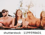 young smiling friends with... | Shutterstock . vector #1199598601