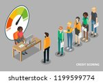 credit scoring vector flat... | Shutterstock .eps vector #1199599774
