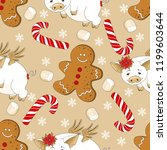 seamless pattern with christmas ... | Shutterstock .eps vector #1199603644