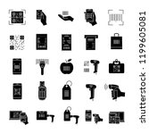 barcodes glyph icons set.... | Shutterstock .eps vector #1199605081
