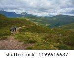 tourists hiking along west... | Shutterstock . vector #1199616637