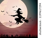 halloween background with witch ... | Shutterstock .eps vector #1199617294