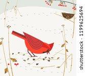 cute red northern cardinal...   Shutterstock . vector #1199625694