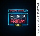 black friday neon light banner. | Shutterstock . vector #1199627044