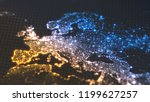 dark earth map with glowing... | Shutterstock . vector #1199627257