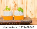 chia pudding with pumpkin puree ... | Shutterstock . vector #1199628067