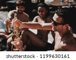 young friends with alcoholic... | Shutterstock . vector #1199630161