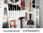 various carpentry tools in a... | Shutterstock . vector #1199640091