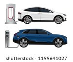 set of electric suv with... | Shutterstock .eps vector #1199641027