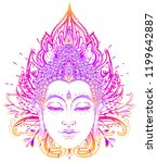 buddha face over ornate mandala ... | Shutterstock .eps vector #1199642887
