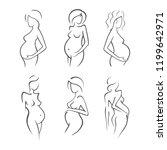 set drawing linear beautiful... | Shutterstock .eps vector #1199642971