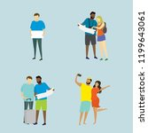 different people travelers with ... | Shutterstock .eps vector #1199643061