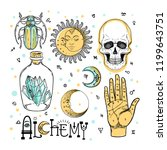 alchemy symbol icon set.... | Shutterstock .eps vector #1199643751