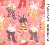 soft colored winterly kitten...   Shutterstock .eps vector #1199645971