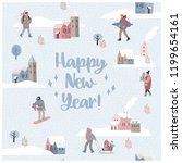 christmas and happy new year... | Shutterstock .eps vector #1199654161