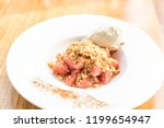 apple crumble with icecream and ... | Shutterstock . vector #1199654947