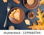 piece of pumpkin pie with... | Shutterstock . vector #1199660764