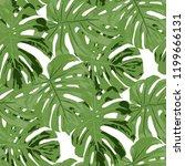 tropical leaves. seamless... | Shutterstock .eps vector #1199666131
