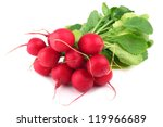 bunch of radishes on white background - stock photo