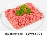 fresh mince with herbal on white plate - stock photo