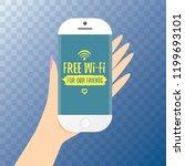 hand holding white smart phone...   Shutterstock .eps vector #1199693101
