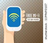 hand holding white smart phone...   Shutterstock .eps vector #1199693107