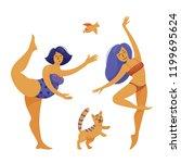 two beautiful women dancing... | Shutterstock .eps vector #1199695624