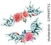 watercolor asymmetric bouquet... | Shutterstock . vector #1199695711