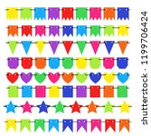 colorful bunting and garland... | Shutterstock .eps vector #1199706424