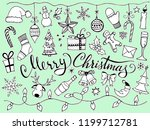 doodle christmas set. cute hand ... | Shutterstock .eps vector #1199712781