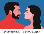 romantic concept. couple in... | Shutterstock .eps vector #1199716054