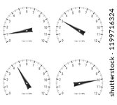 manometer. set of black scales. ... | Shutterstock . vector #1199716324