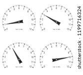 manometer. set of black scales. ... | Shutterstock . vector #1199716324