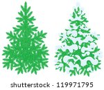 green fir trees | Shutterstock .eps vector #119971795