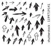 vector set of scribbled arrows. ... | Shutterstock .eps vector #1199719141