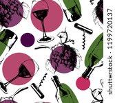 vector seamless wine pattern...   Shutterstock .eps vector #1199720137